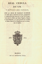 Real cédula, - Madrid, 1802